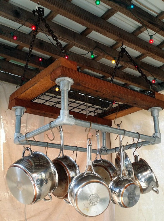 Items similar to Kitchen Pot Rack, Reclaimed Wood ...