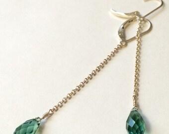 Swarovski Crystal Briolette Teardrop Earrings in Erinite