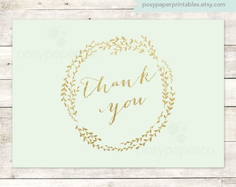 mint gold thank you cards printable DIY bridal baby wedding shower mint green gold glitter wreath thank you cards - INSTANT DOWNLOAD