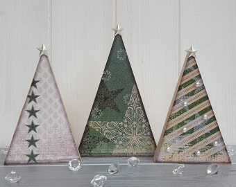 Wooden decoupage Christmas green tree trio, Three festive wood trees with pearl embellishments, Freestanding pine tree decorations