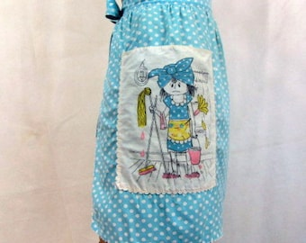 Vintage ~ Half Apron ~ 1960s ~ Polka Dots ~ Blue and White ~ Cotton ~ Screen Printed Large Pocket ~ Cleaning Lady ~ Aqua Blue