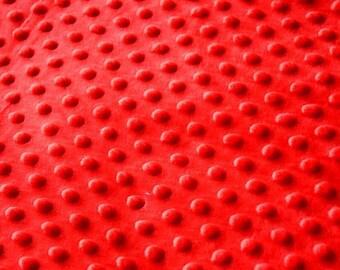 Minkee red polka dot pattern fabric