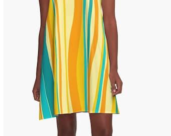 Retro Dress, Womens Gift, Dress, Summer Dress, Party Dress, XL Dress, Retro, Mini Dress, Mod Dress, Yellow Dress, Casual Dress, Wife Gift