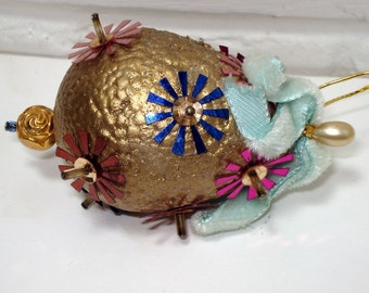 Vintage Christmas Ornament, Golden Egg, Small, Handcrafted, 1970's  (741-10)