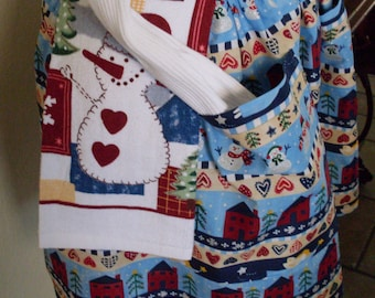 Blue Christmas Apron Baking Apron with attached Dish Towel Great Hostess Gift Angels and Snowmen adorn this Apron
