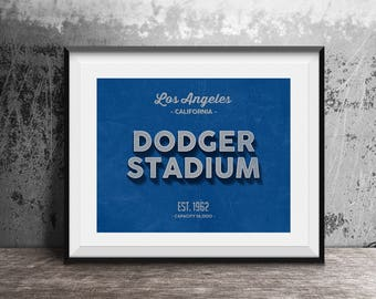 Dodger Stadium, Los Angeles Dodgers Decor, Vintage Baseball, Baseball Poster, Retro Print, Baseball Fan Gift, Sport Lover