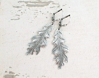 Antiqued Silver Oak Leaf Lever Back Earrings