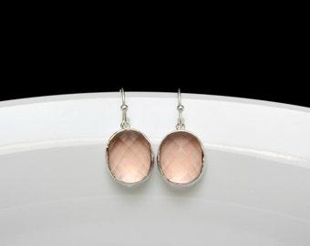 hammered blush earrings , silver blush earrings , peach bridesmaids earrings , champagne silver earrings , pink blush earrings , weddings