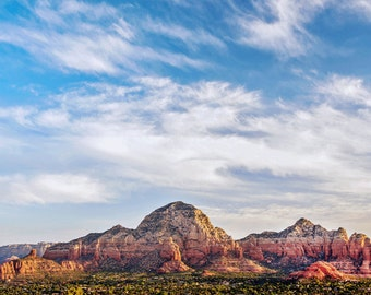 Sedona Landscape Photography Print Open Skies Cloudy Arizona Red Rock Fine Art Photograph Wall Art Decor | Also Available on Canvas or Metal
