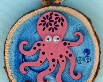 Pink Octopus bathroom art, Christmas ornament, sea, ocean,, round art, hand made, beachy, blue and pink, art on wood, wood shape, wood slice