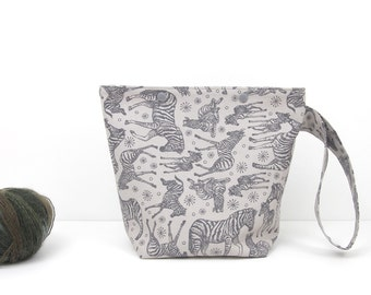 Zebra knitting project bag with snaps, grey small knitting bag, wild animal crochet storage