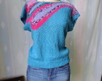 Vintage 80s short sleeve sweater