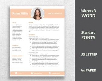 Professional Resume Template / CV Template | Professional and Creative Resume | Teacher Resume | Word Resume | Instant Download