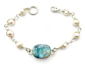 Monarch Opal Bracelet, Opal and Pearl Bracelet