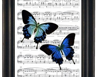 Music Art Prints or Dictionary Art Prints Butterfly Art Print Butterfly Dictionary Art Print Book Page Upcycle Wall Art 8 x 10
