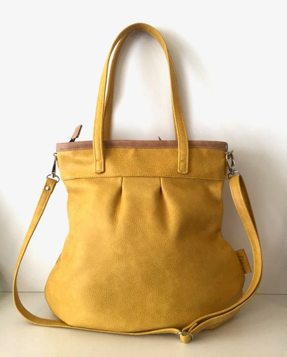 Leather tote bag, yellow leather shopper,large leather bag,cross body bag