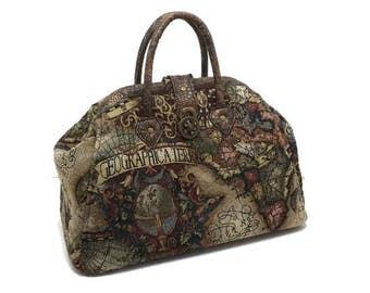 Steampunk Old World Map Medium Mary Poppins Style Carpet Bag Handbag