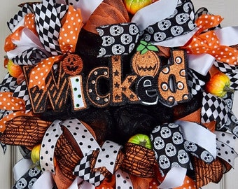 20% ANNIVERSARY SALE Wicked Orange, White and Black Mesh Halloween Wreath with Pumpkins; Large Halloween Fall Mesh Wreath; Halloween Door De