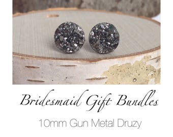 Bridesmaid Druzy Earrings - Gun Metal - 10mm