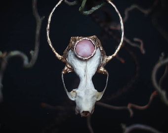 Mink Skull and Rosequartz Necklace