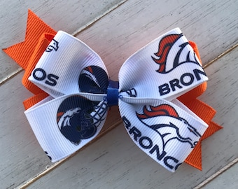 Denver Broncos boutique hairbow barrette
