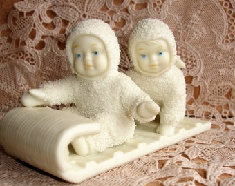 Vintage Snowbabies Department 56 Down The Hill We Go Angels On A Sled Collectable Figurines