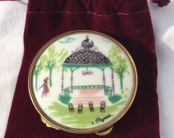 Lovely Miref Powder mirror Compact- Vintage 1950s, Signed By French artist R Peynet, Beautiful ceramic, brass, beveled glass, mirror