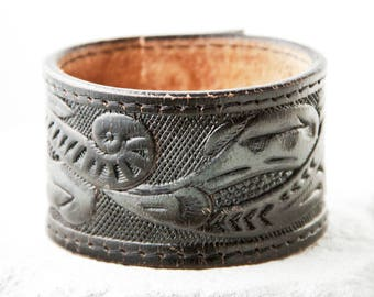 Tooled Leather Jewelry Bracelet Cuff Made From Vintage Belt Rainwheel Sale