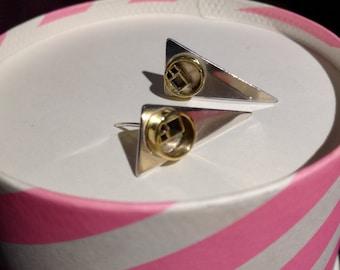 Geometric shape earrings in silver and brass