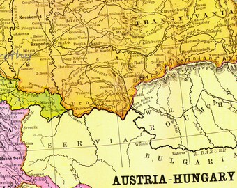 Antique Austria Hungary Map Bright Copper Engraving European Cartography 1892 Victorian Geography Art To Frame
