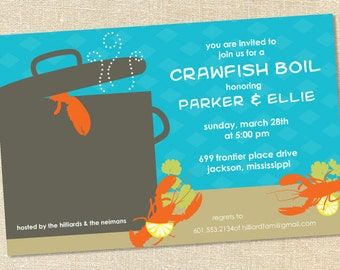 Sweet Wishes Turquoise Crawfish Boil Shower Party Invitations - PRINTED - Digital File Also Available