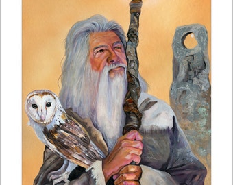 "Wizard and Owl Print - ""Solstice"" - 8x10 Fantasy Storytelling Illustration Artwork Reproduction"
