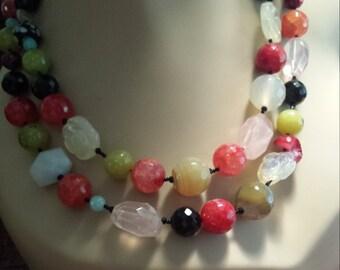 Two strand assorted semi precious stones necklace