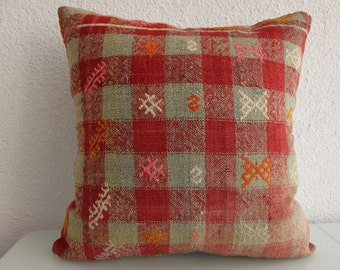 20x20 striped kilim pillow throw pillow 20x20 decorative kilim pillow handwoven kilim pillow vintage kilim pillow 553