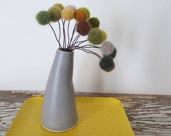 Grey, Gray Pottery Vase with Pom Pom Flowers.  Green Felt Flower Woodland Centerpiece.  Modern, Curved Vase.  Faux Craspedia, Billy Buttons.