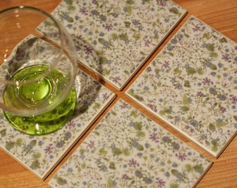 Ceramic coasters - vintage pale blue tile coasters with purple blue and green wild flower print – set of 4