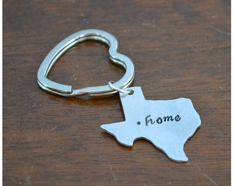 Aluminum State Keychain - Customized Keyring - Home Town Pride - New Car Key Ring - Sweet 16 Gift - State Pride