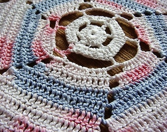 Pink and Blue Crocheted Doily Pinwheel Doily