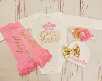 newborn baby girl, take home outfit, baby girl clothes, princess has arrived, baby girl, baby girl outfit, baby girl coming home outfit
