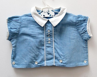Vintage baby shirt with tailored details and collar, age 6 months