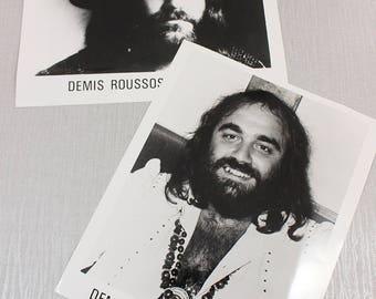 Set of 2 Demis Roussos Publicity Photographs Pictures by Philips on Kodak Paper