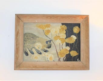 Mid Century Modern, cat abstract painting, oil on canvas 1960's