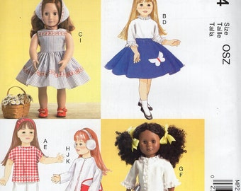 "McCall's P294 7266 Free Us Ship Out of Print  18"" Doll Clothes Retro 50's 60's Look Wardrobe New Sewing Pattern Fits American Girl"
