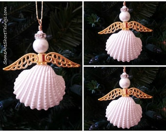 Christmas Angel Seashell Ornament Set of 3 Metallic Gold Angel Wings.  Beach Theme Holiday Decoration. Seashell Angel Coastal Decor