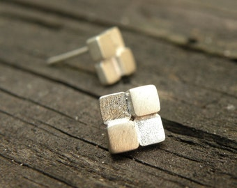 Block Earrings-sterling silver