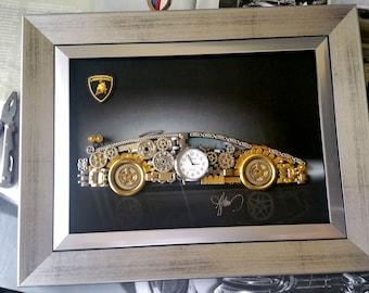 Gifts for him-Lamborghini Car model Code M 227-Car Collage decor-Steampunk Art-Steampunk Gears-Art Prints Wall Decor-Steampunk Prints