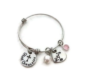 First Communion Adjustable Bangle - Little Girl's First Communion Jewelry - First Communion Gift Ideas for Girls - Personalized - Gifts