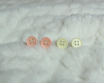 Tiny Button Earrings (Light Pink & Cream)