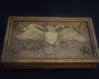 Avon Faux Wood Cologne Box-- The Great Seal of The United States-- E pluribus unum--