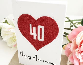 40th Wedding Anniversary Card Ruby Wedding Anniversary Gift For Couples For Mum and Dad Husband Wife 40 Year Anniversary Gift for Parents